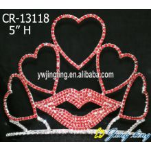 Red Rhinestone Heart Shape Custom Crowns For Sale