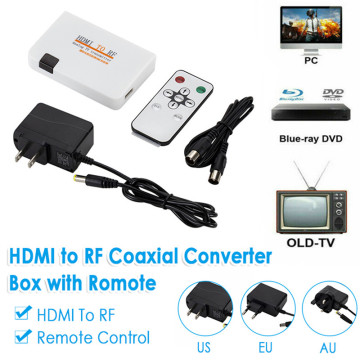 For TV Converting TV Transmitter Box HDMI-compatible To RF Coaxial Converter Box Adapter Cable with Remote Control Power