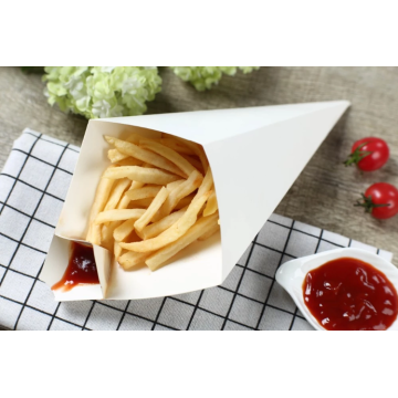 Disposable Fried Chips Paper Cone With Sauce Holder