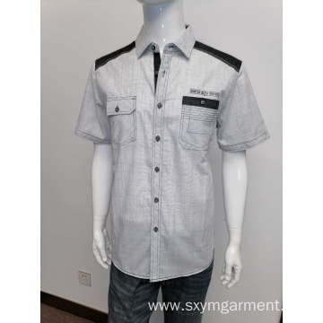 Mens cotton y/d slubbed fabric casual short-sleeve shirt