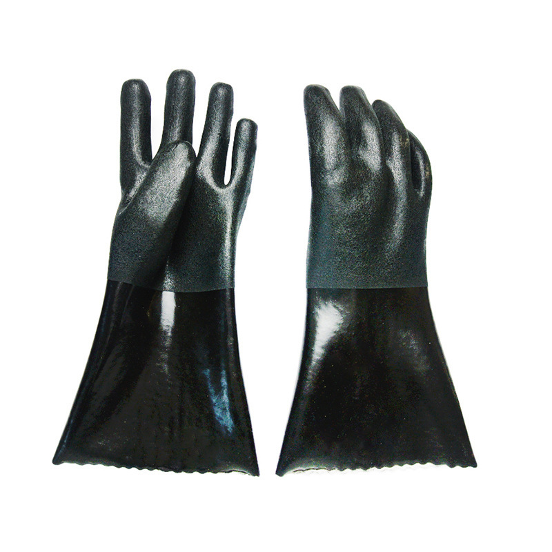 Black flannelette gloves with sandy finish 30cm