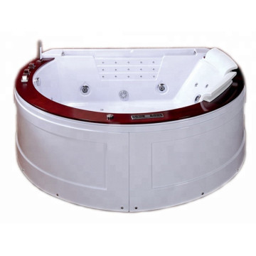 Round Corner Hydro Bathtubs LED Light Waterfall