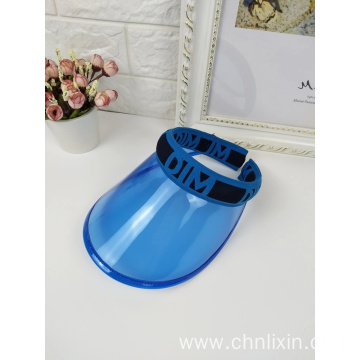Yellow sun visor cap plastic PVC summer hat