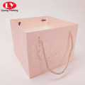 Pink hot stamping logo gift bag with handle