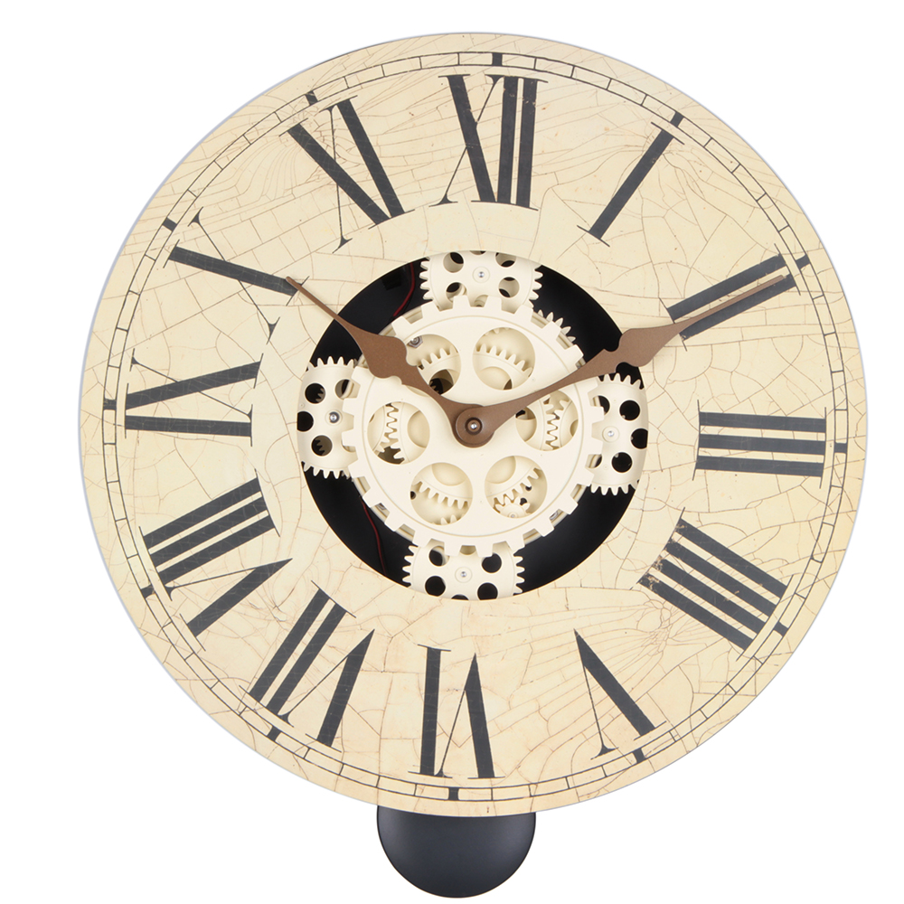 Retro Wooden 14 Inches Penldulum Gear Wall Clock