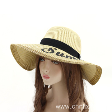 Summer beach straw hat lady bucket hat custom