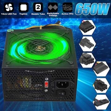 110~220V 650W PC Power Supply 14cm LED Silent Fan 24 Pin PCI SATA ATX 12V Computer Desktop Power Supply For Computer