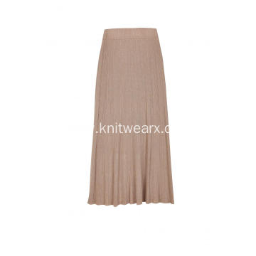 Women's Knitted Elastic Waist Rib Pleated Lady Skirt