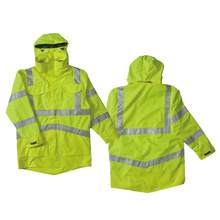 Hi-vis anti-uv jacket with reflective tape.