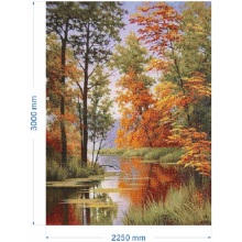 Maple Lake View Glass Mosaic Oil Painting Mural