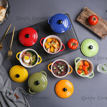 Factory Cheap Round Color Glaze Ceramic Mini Casserole With Lid