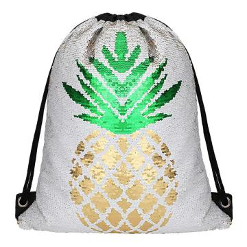 PINEAPPLE REVERSIBLE SEQUIN DRAWSTRING BAG-0