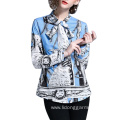 Design Custom Printing Long Sleeve Blouses Office Wear