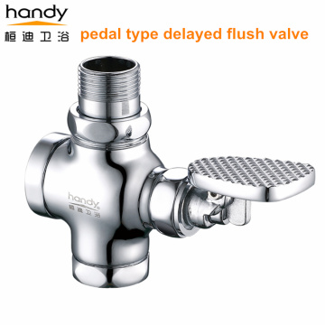 All copper pedal type delayed flush valve