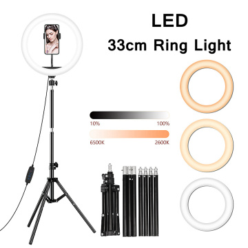 33cm LED Selfie Ring Light with Tripod Phone Stand Ringlight Profissional Photography Studio Ring Lamp for Youtube Video Lights
