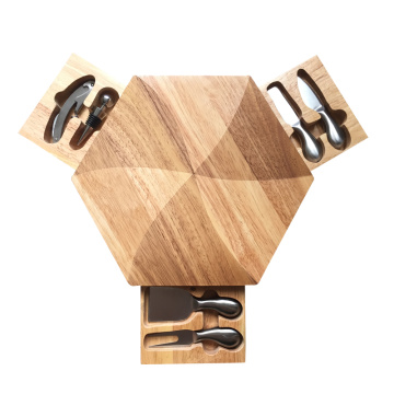 Hexagon Shape Cheese Board Set with 6pcs Tools
