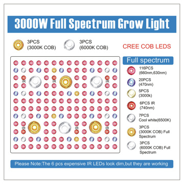 Led interior cresce luzes 3000w