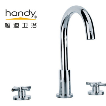 Double Handle Deck Faucet Brass Chrome