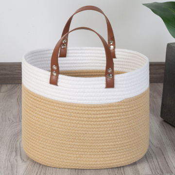 Simple Fashion Bin Round Slight Tapered Jute Rope Basket