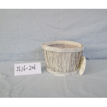Wash White Wood Bark Flower Pot