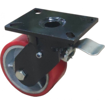 10'' Plate Top Swivel Industrial Caster PU Wheel With Brake