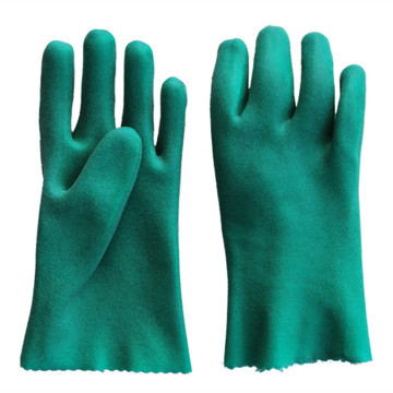 Green PVC Impregnated Foamed Gloves.Cotton lined gloves