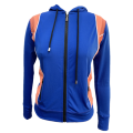Ladies knit hoodie with blocked activewear jacket