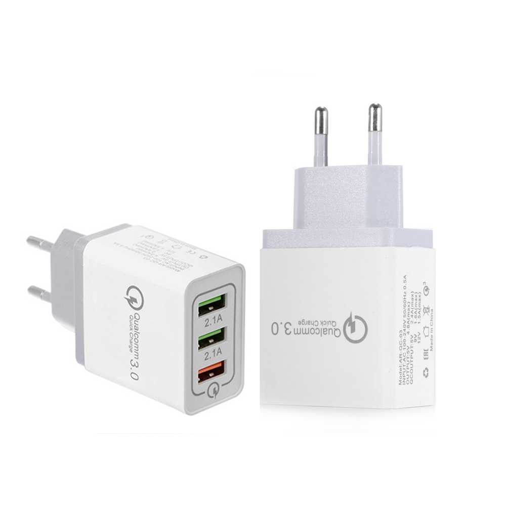 3 Ports 18W Portable Travel USB Wall Charger Quick Charge QC 3.0 2.0 Fast Charger Wall Adapter For Samsung S7 Xiaomi iPhone iPad