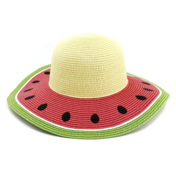 Watermelon picture summer straw hat