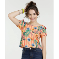 Short Sleeve slim fit Flower Printed Blouse