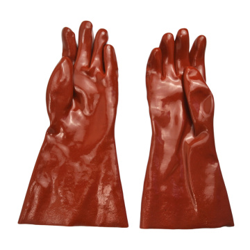 Dark Red PVC coated gloves 14''