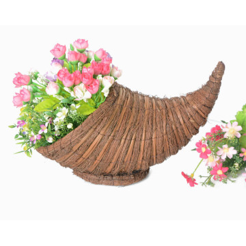 awn and broom leaf weaving cornucopia flower basket
