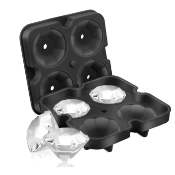 Rusable Diamond Silicone Flexible 4-Ice Trays