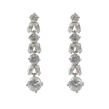 Long CZ Stone Wedding Drop Earrings
