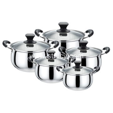 Arc na hugis 5-Piece Stainless Steel Cookware Set