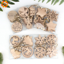 12PCS/Box Multi Vintage Christmas Wooden Pendants Ornaments Decoration Home Christmas Tree Ornaments Hanging Kids Gifts Supplies