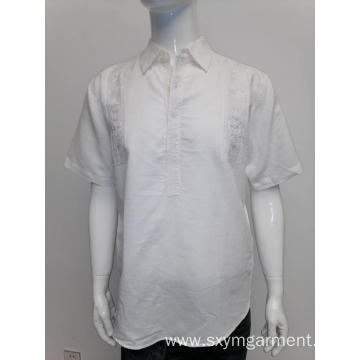 Men's ramie cotton short sleeve shirt in summer