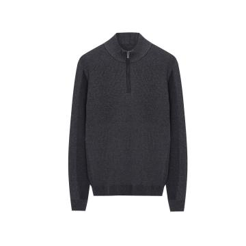 Men's Knitted Half Zip Color Plaited All Textured Pullover