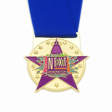 Purple enamel metal star generation medal