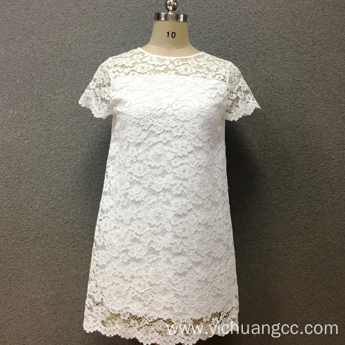 Women's polyester withe lace short sleeves dress