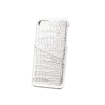 White Glitter Card Slot Crocodile Leather Phone Case