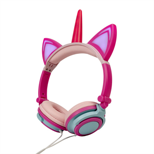 Custom color light up unicorn headphone for kids
