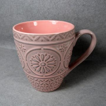Colorful Embossed Stoneware Mug