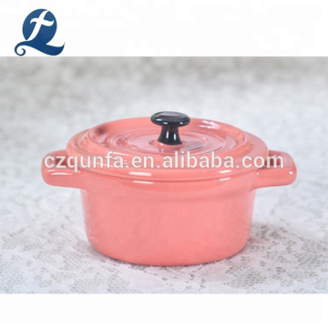 Made In China Pink Small Kitchen Casserole Ceramic Cooking Pot Set With Lid