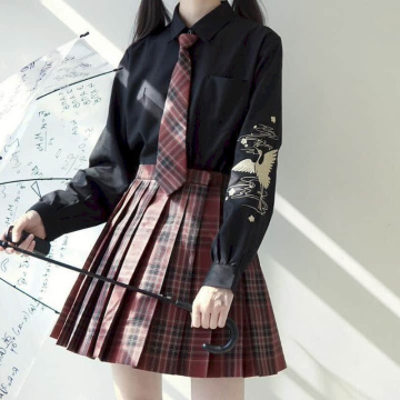 Women's long-sleeved black and white shirt JK uniform crane embroidery Chinese style 2020 new college fresh plum Jianhe Blouse