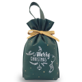 Green Christmas Handle Bag Drawstring Gift Bags