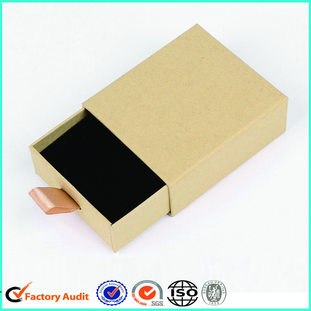 Kraft Paper Black Flock Jewellery Ring Box