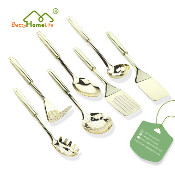 7PCS Stainless Steel Gold Plated Kitchen Utensil Set