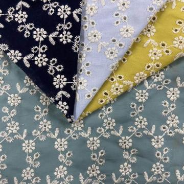 Interlinked Little Floret Cotton Embroidery Fabric