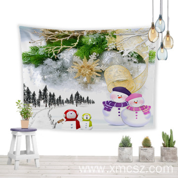 Christmas snowman printed festival wall tapestry